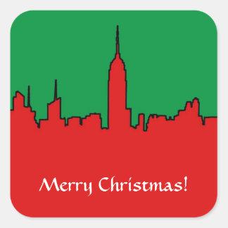 NYC Skyline: ESB Christmas Silhouette Square Sticker