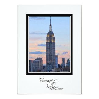 "NYC Skyline ESB Pink Blue Sunset Wedding 5"" X 7"" Invitation Card"
