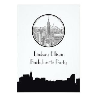 "NYC Skyline ESB Round Etched 01S Bachelorette 5"" X 7"" Invitation Card"