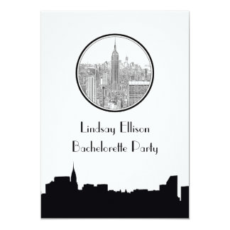 NYC Skyline ESB Round Etched 01S Bachelorette 5x7 Paper Invitation Card
