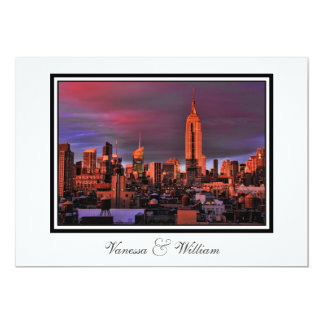 NYC Skyline ESB Surreal Sunset  Wedding Invite