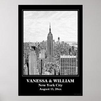 NYC Skyline ESB WTC Etch BW Wedding Poster