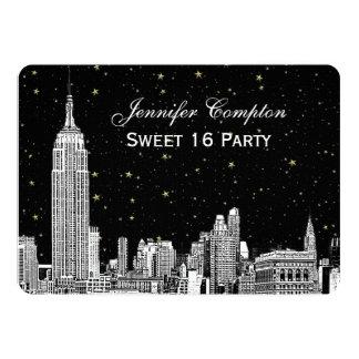 "NYC Skyline Etch Starry DIY BG Color SQ Sweet 16 H 5"" X 7"" Invitation Card"