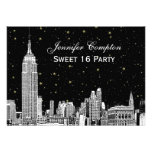 NYC Skyline Etch Starry DIY BG Colour SQ Sweet 16 Personalized Announcement
