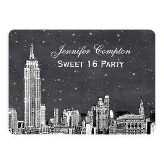 "NYC Skyline Etch Starry Gray BG SQ Sweet 16 H 5"" X 7"" Invitation Card"