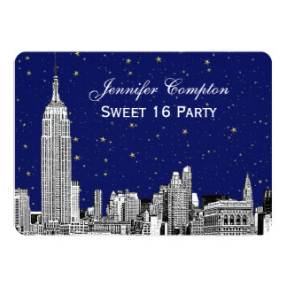 NYC Skyline Etch Starry Navy BG SQ Sweet 16 H 5x7 Paper Invitation Card