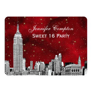 NYC Skyline Etch Starry Red BG SQ Sweet 16 H 5x7 Paper Invitation Card