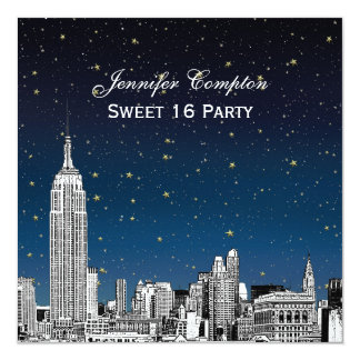 NYC Skyline Etch Starry Sunset BG SQ Sweet 16 H 5.25x5.25 Square Paper Invitation Card