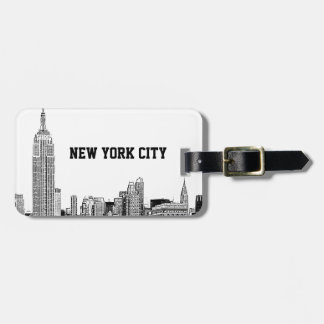NYC Skyline Etched 01 Luggage Tag