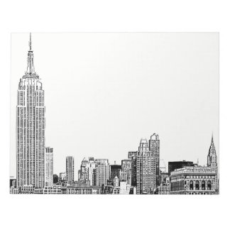NYC Skyline Etched 01 Notepad