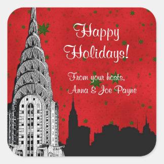 NYC Skyline Etched Chrysler Christmas Holiday Tag