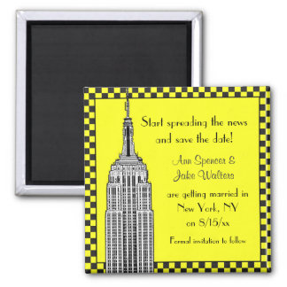 NYC Skyline Etched ESB Checkerd Taxi Save the Date Magnet