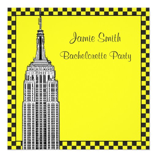 NYC Skyline Etched ESB Checkered Taxi Bachelorette Custom Invitations