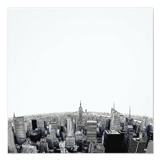 "NYC Skyline Etched Fisheye View 5.25"" Square Invitation Card"