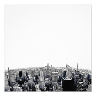 NYC Skyline Etched Fisheye View Custom Invitations