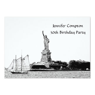 "NYC Skyline Etched St of Liberty Birthday Party 5"" X 7"" Invitation Card"