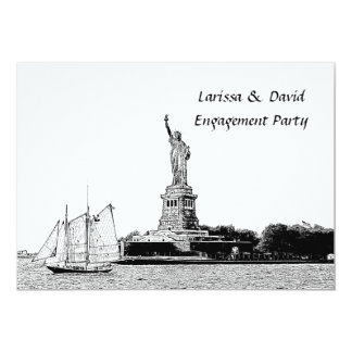"NYC Skyline Etched St of Liberty Engagement Party 5"" X 7"" Invitation Card"