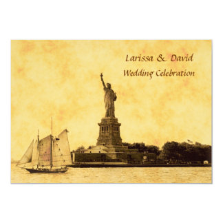 NYC Skyline Etched St of Liberty Wedding Invite #2