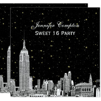 """NYC Skyline Etched Starry DIY BG Color SQ Sweet 16 5.25"""" Square Invitation Card"""
