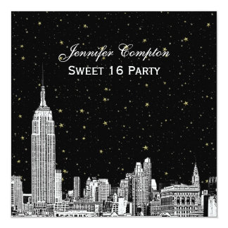 "NYC Skyline Etched Starry DIY BG Color SQ Sweet 16 5.25"" Square Invitation Card"