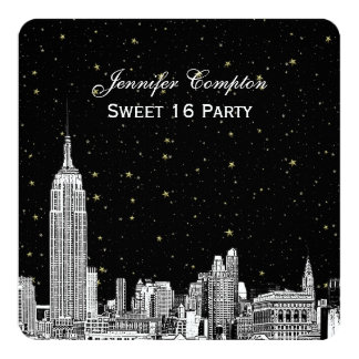 NYC Skyline Etched Starry DIY BG Color SQ Sweet 16 5.25x5.25 Square Paper Invitation Card