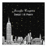 """NYC Skyline Etched Starry DIY BG Colour SQ Sweet 5.25"""" Square Invitation Card"""