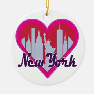 NYC Skyline Heart Round Ceramic Ornament