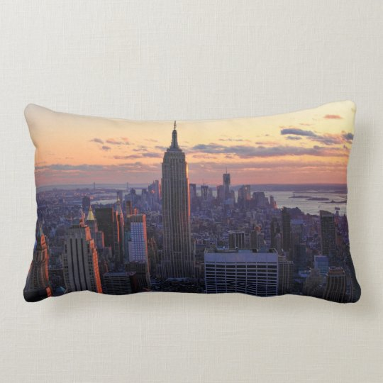 NYC Skyline just before sunset Lumbar Pillow