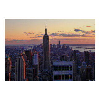 NYC Skyline just before sunset Poster