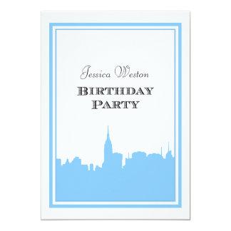 NYC Skyline Lt Blue Silhouette #2 DIY Birthday Announcement