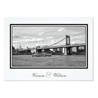 "NYC Skyline Manhattan Bridge Boat BW Wedding 5"" X 7"" Invitation Card"