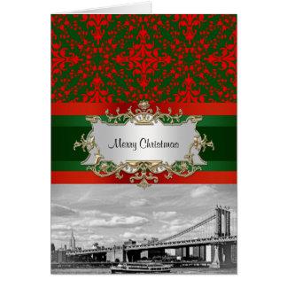 NYC Skyline Manhattan Bridge Damask Xmas Card