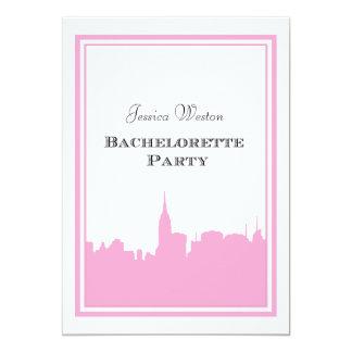 "NYC Skyline Pink Silhouette #2 DIY Bachelorette 5"" X 7"" Invitation Card"