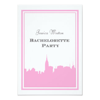 NYC Skyline Pink Silhouette #2 DIY Bachelorette Personalized Invitation