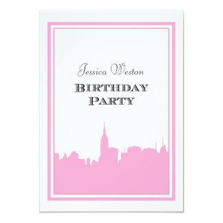 "NYC Skyline Pink Silhouette #2 DIY Birthday 5"" X 7"" Invitation Card"