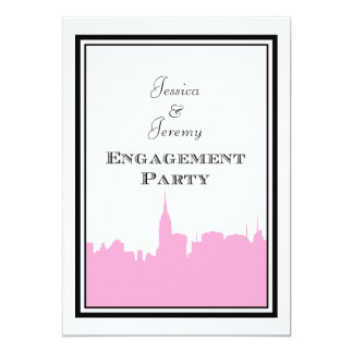 "NYC Skyline Pink Silhouette #2 DIY Engagement 5"" X 7"" Invitation Card"