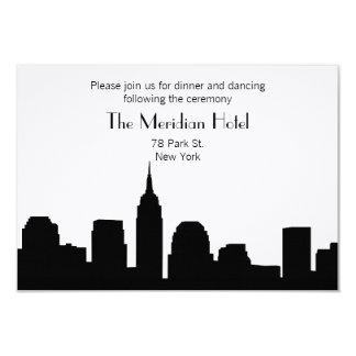 """NYC Skyline Recption Card - Black 3.5"""" X 5"""" Invitation Card"""