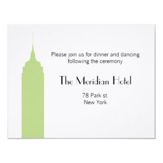 "NYC Skyline Recption Card - Empire State Building 4.25"" X 5.5"" Invitation Card"