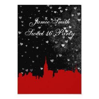 NYC Skyline Red Silhouette Black Wt Hrt Sweet 16 V 5x7 Paper Invitation Card