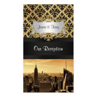 NYC Skyline Sepia B5 Blk Rib Damask Escort Cards Business Card