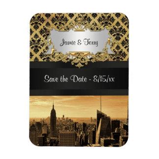 NYC Skyline Sepia B5 Blk Rib Damask Save the Date Rectangular Photo Magnet