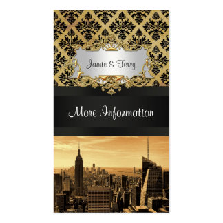 NYC Skyline Sepia B5 Damask Black Ribbon Business Card