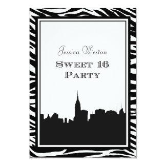 """NYC Skyline Silhouette #2 Zebra Sweet 16 5"""" X 7"""" Invitation Card"""