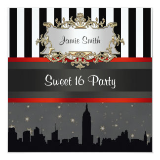 "NYC Skyline Silhouette Blk Wht Stripe Sweet 16 5.25"" Square Invitation Card"