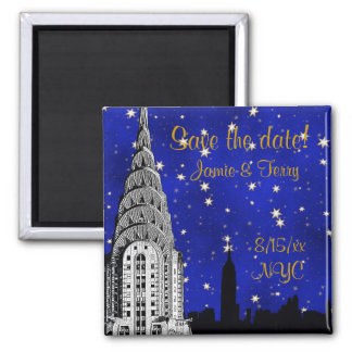 NYC Skyline Silhouette Blue Star Save Date Magnet