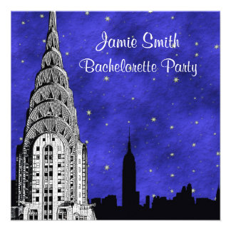 NYC Skyline Silhouette Blue Starry 2 Bachelorette Personalized Invite