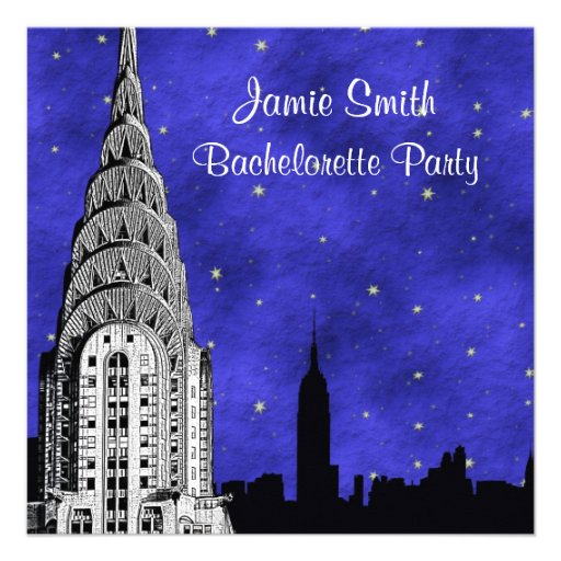 NYC Skyline Silhouette Blue Starry 2 Bachelorette Personalized Invite