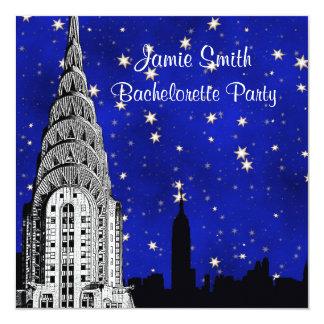 NYC Skyline Silhouette Blue Starry Bachelorette 5.25x5.25 Square Paper Invitation Card