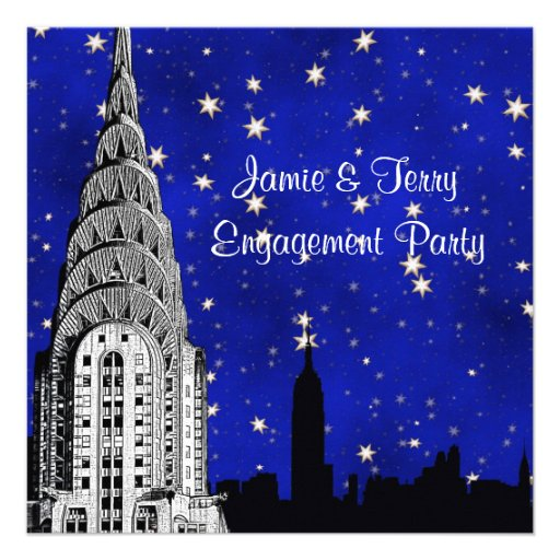 NYC Skyline Silhouette Blue Starry Engagement Invites