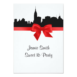 "NYC Skyline Silhouette BW Red Sweet 16 5"" X 7"" Invitation Card"